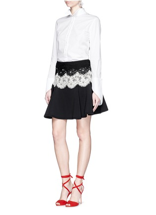 Figure View - Click To Enlarge - Lanvin - Lace appliqué neoprene flare skirt