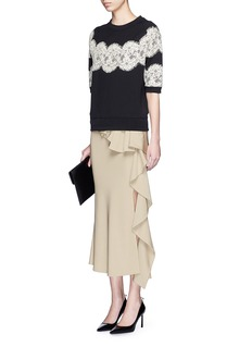 LANVIN Scalloped lace appliqué boxy top