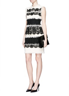 LANVINEyelash lace ribbon tweed sheath dress