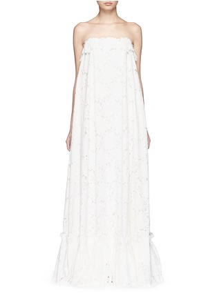 Main View - Click To Enlarge - Lanvin - Guipure lace strapless tier wedding gown