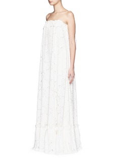 LANVIN Guipure lace strapless tier wedding gown
