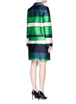 Stripe duchesse satin collared coat
