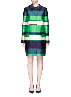 LANVIN Stripe duchesse satin collared coat