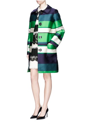 Figure View - Click To Enlarge - Lanvin - Stripe duchesse satin collared coat