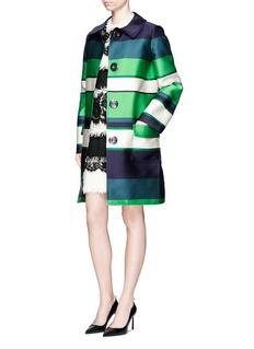 LANVINStripe duchesse satin collared coat