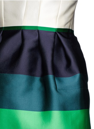 Detail View - Click To Enlarge - Lanvin - Colourblock stripe Duchesse satin fitted dress