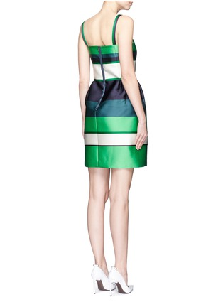Back View - Click To Enlarge - Lanvin - Colourblock stripe Duchesse satin fitted dress