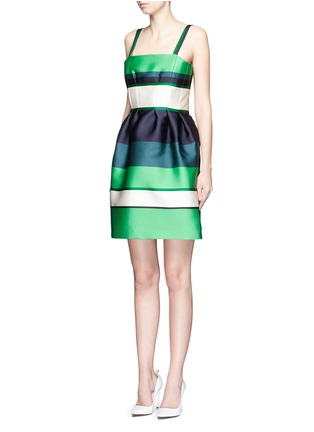 Front View - Click To Enlarge - Lanvin - Colourblock stripe Duchesse satin fitted dress