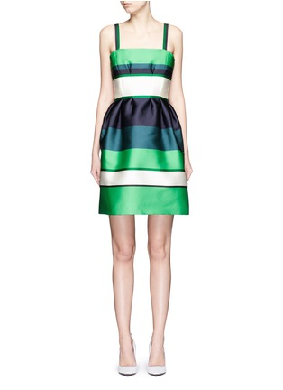 Main View - Click To Enlarge - Lanvin - Colourblock stripe Duchesse satin fitted dress
