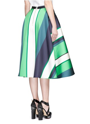 Back View - Click To Enlarge - Lanvin - Colourblock stripe Duchesse satin flare skirt