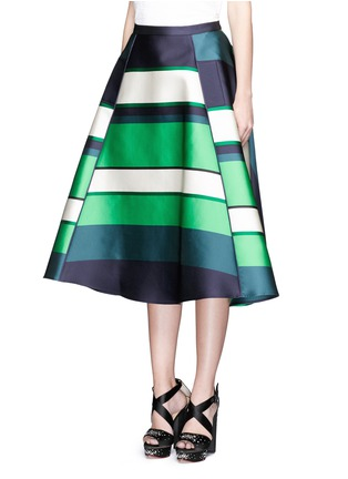 Front View - Click To Enlarge - Lanvin - Colourblock stripe Duchesse satin flare skirt
