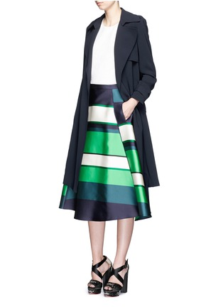 Figure View - Click To Enlarge - Lanvin - Colourblock stripe Duchesse satin flare skirt