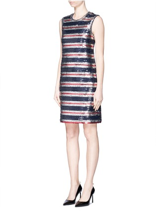 Front View - Click To Enlarge - Lanvin - Stripe sequinned jersey dress