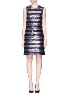 LANVINStripe sequinned jersey dress