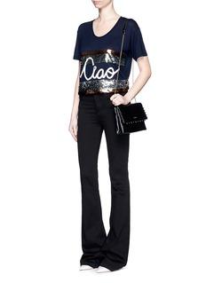 LANVIN'Ciao' slogan sequin stripe T-shirt