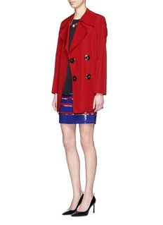 LANVINEmbroidered sequin paillette stripe jersey skirt