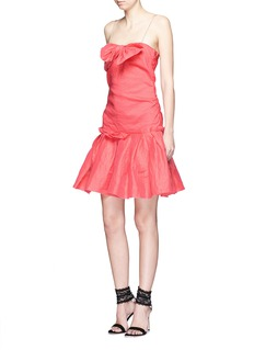 LANVIN Draped bow stretch organza dress