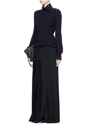 Figure View - Click To Enlarge - Chloé - Pleat crepe maxi wrap skirt