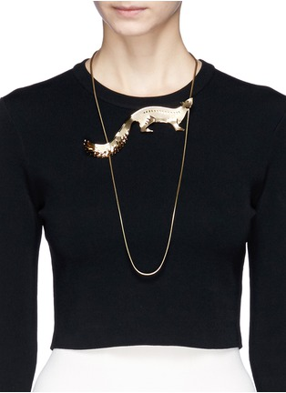 Figure View - Click To Enlarge - Lanvin - Fox charm snake chain necklace