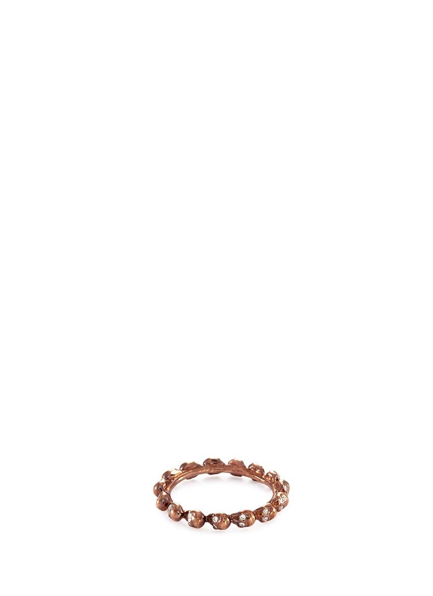 Diamond 18k rose gold skull ring
