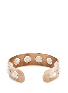 Delfina Delettrez'Complex Roll In Stones' freshwater pearl gold silver bangle