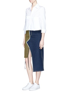 Jinnnn Box pleated cropped poplin shirt