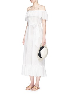 Marysia ''Victoria' ruffle overlay broderie anglaise off-shoulder dress
