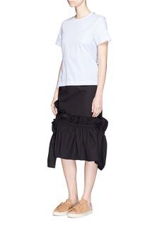 Shushu/TongAsymmetric ruffle cotton pencil skirt