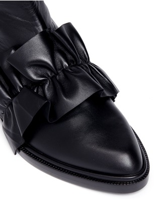 Detail View - Click To Enlarge - MSGM SHOES - Oversized ruffle front leather ankle boots
