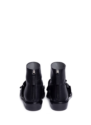 Back View - Click To Enlarge - MSGM SHOES - Oversized ruffle front leather ankle boots
