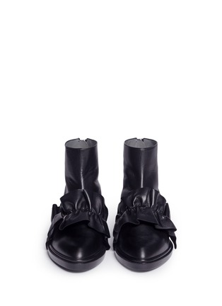 Front View - Click To Enlarge - MSGM SHOES - Oversized ruffle front leather ankle boots