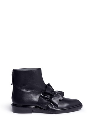 Main View - Click To Enlarge - MSGM SHOES - Oversized ruffle front leather ankle boots
