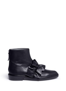 MSGM Oversized ruffle front leather ankle boots
