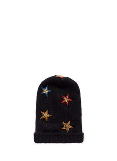 Venna Crystal pavé star appliqué angora blend knit beanie