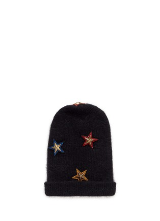Figure View - Click To Enlarge - Venna - Crystal pavé star appliqué angora blend knit beanie