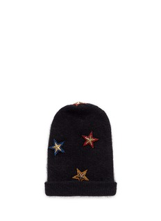 VennaCrystal pavé star appliqué angora blend knit beanie