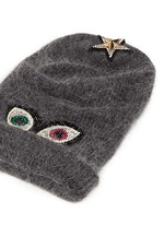 Crystal pavé eye appliqué angora blend knit beanie