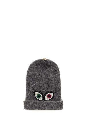 Venna - Crystal pavé eye appliqué angora blend knit beanie