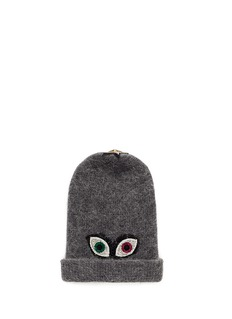 Venna Crystal pavé eye appliqué angora blend knit beanie