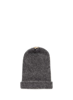 VennaCrystal pavé eye appliqué angora blend knit beanie