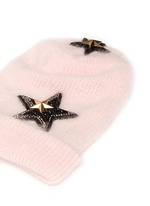 Crystal pavé star appliqué angora blend knit beanie