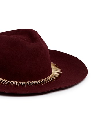 Detail View - Click To Enlarge - Venna - Zircon pavé spike fringe felt fedora hat