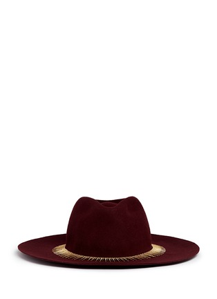 Main View - Click To Enlarge - Venna - Zircon pavé spike fringe felt fedora hat