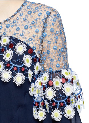 Peter Pilotto - Floral lace ruffle silk georgette dress