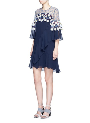 Figure View - Click To Enlarge - Peter Pilotto - Floral lace ruffle silk georgette dress