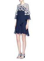 Floral lace ruffle silk georgette dress