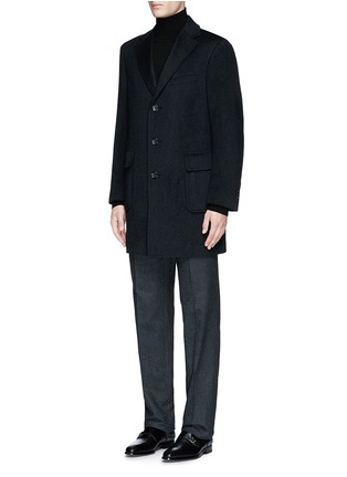 Front View - Click To Enlarge - Canali - 'Kei' cashmere-chinchilla flannel coat