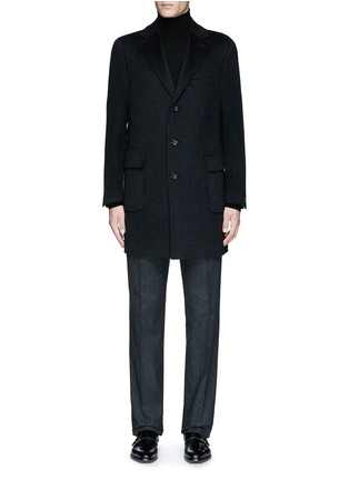 Main View - Click To Enlarge - Canali - 'Kei' cashmere-chinchilla flannel coat