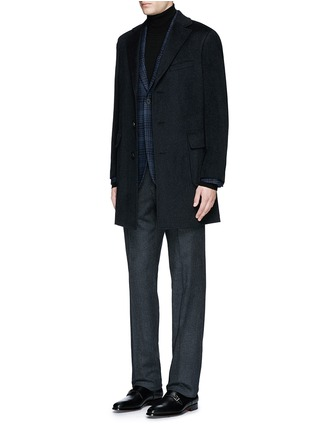 Figure View - Click To Enlarge - Canali - 'Kei' cashmere-chinchilla flannel coat