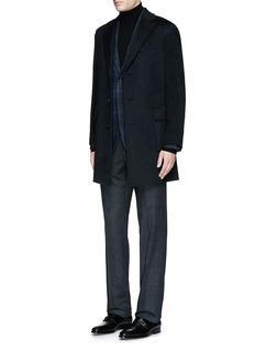 Canali'Kei' cashmere-chinchilla flannel coat